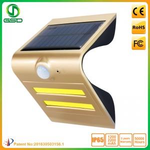1.5W LED Solar Wall Light With Golden Housing (Black Light: Red)