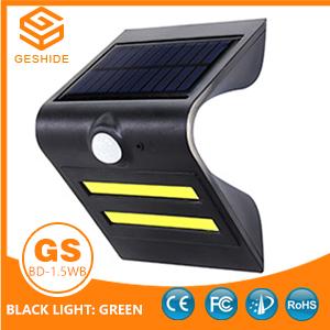 1.5W LED Solar Wall Light With Black Housing (Black Light: Green)