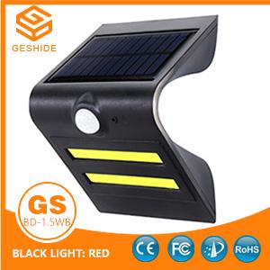 1.5W LED Solar Wall Light With Black Housing (Black Light: Red)