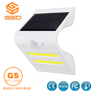 1.5W LED Solar Wall Light With White Housing (Black Light: Blue)