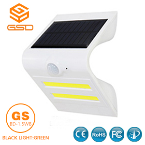 1.5W LED Solar Wall Light With White Housing (Black Light: Green)