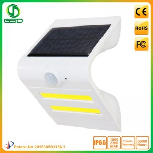 1.5W LED Solar Wall Light With White Housing (Black Light: Red)