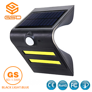 1.5W LED Solar Wall Light With Black Housing (Black Light: Blue)